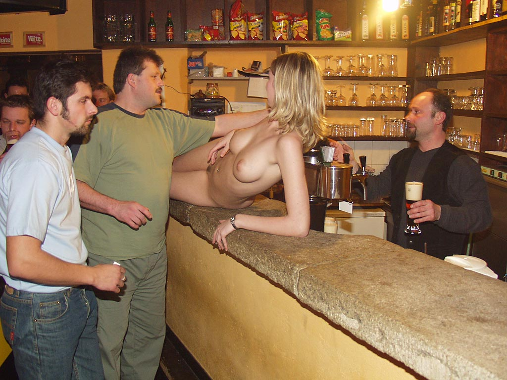 A barmaid to be nailed right in the bar 6